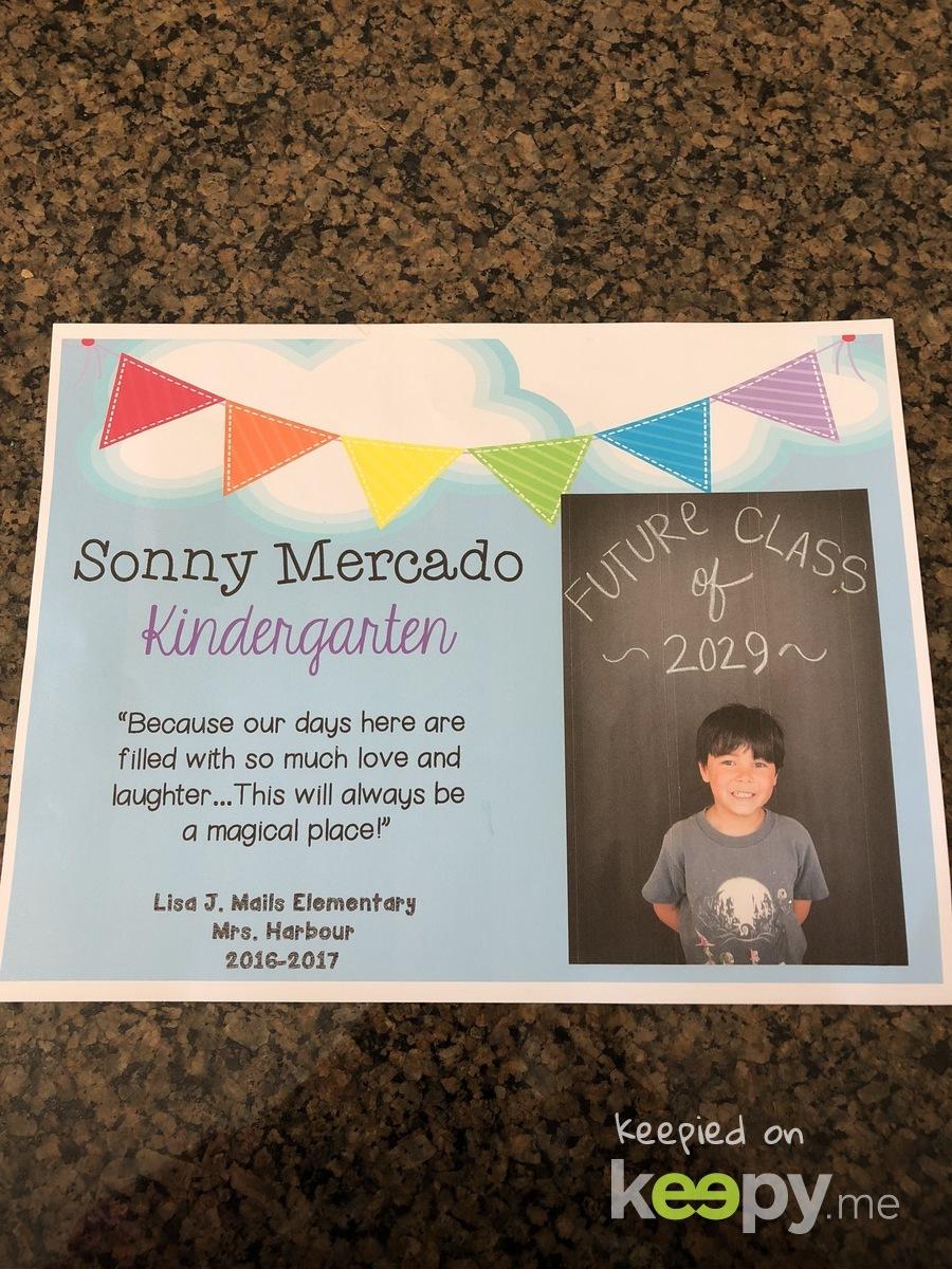 Graduation certificate from Kindergarten