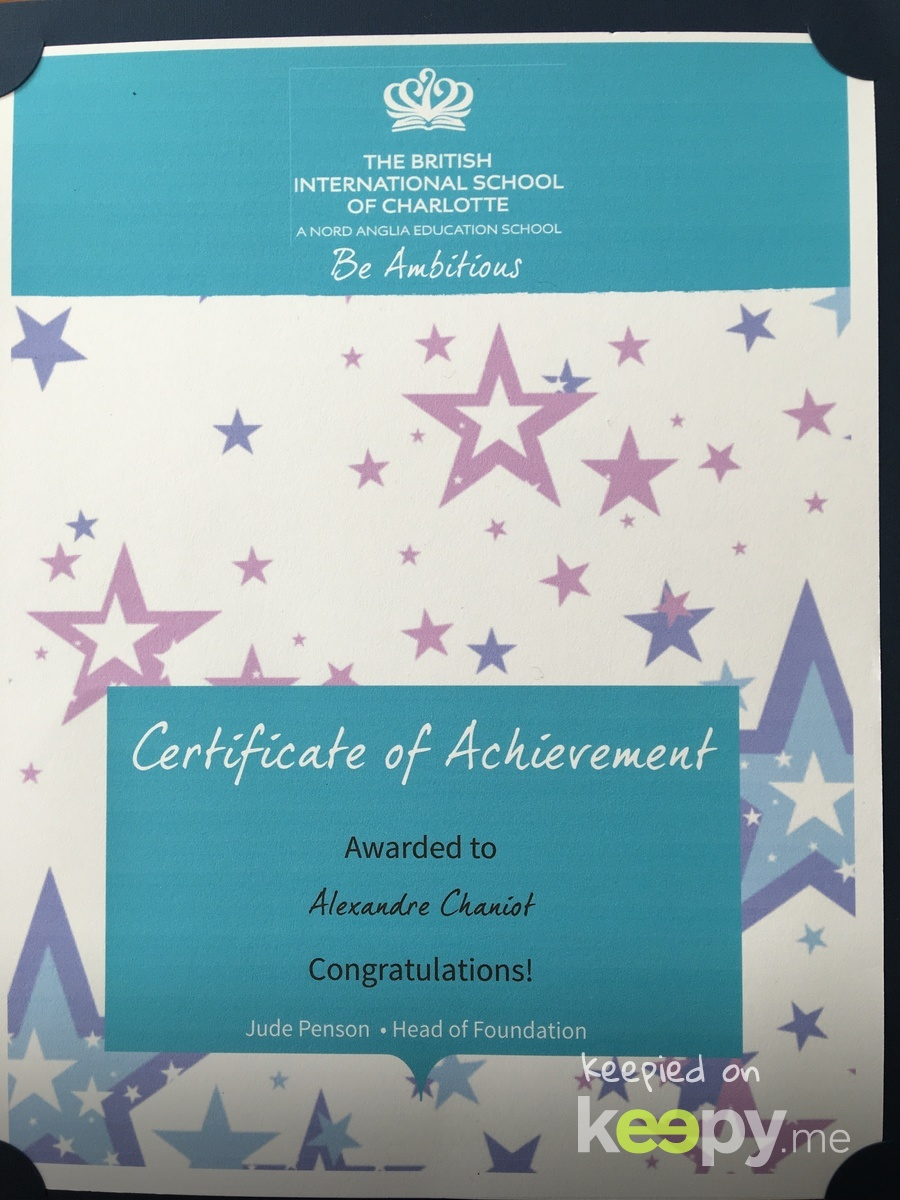 2017 Certificate of Achievement for knowing all of his letter sounds, being a great friend and the class funny boy!