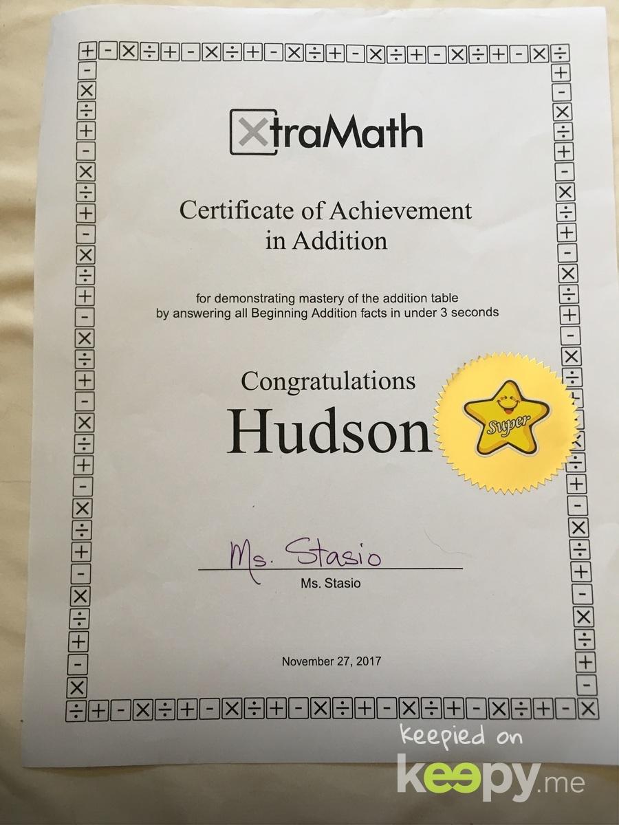 Xtra Math achievement award