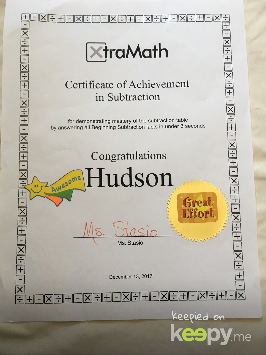Xtra Math achievement award #2