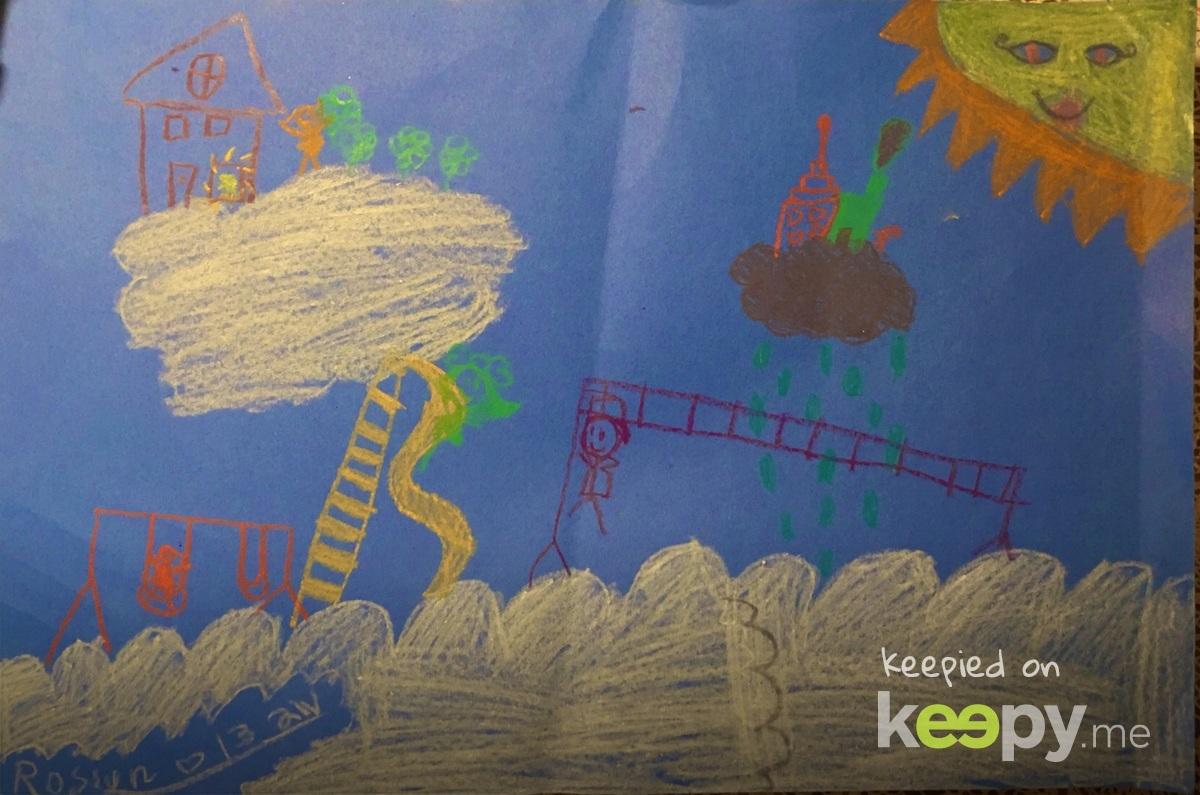 """#Art class. """"Cloud Land"""" art project"""