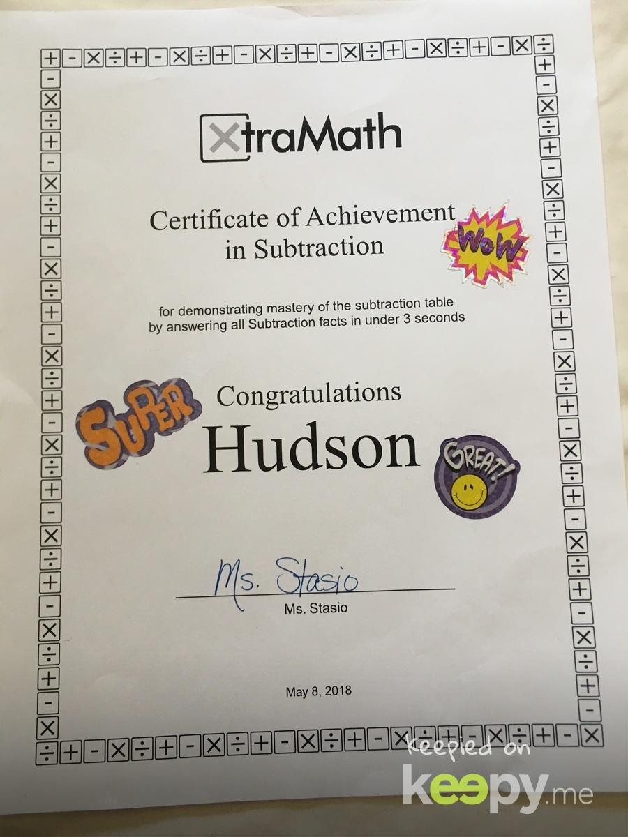 Xtra Math achievement award #3
