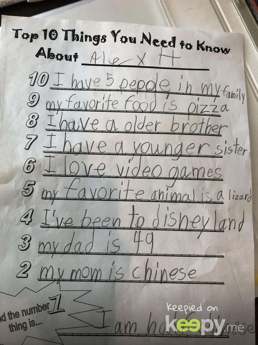 Alex's worksheet from his first week at Odyssey.