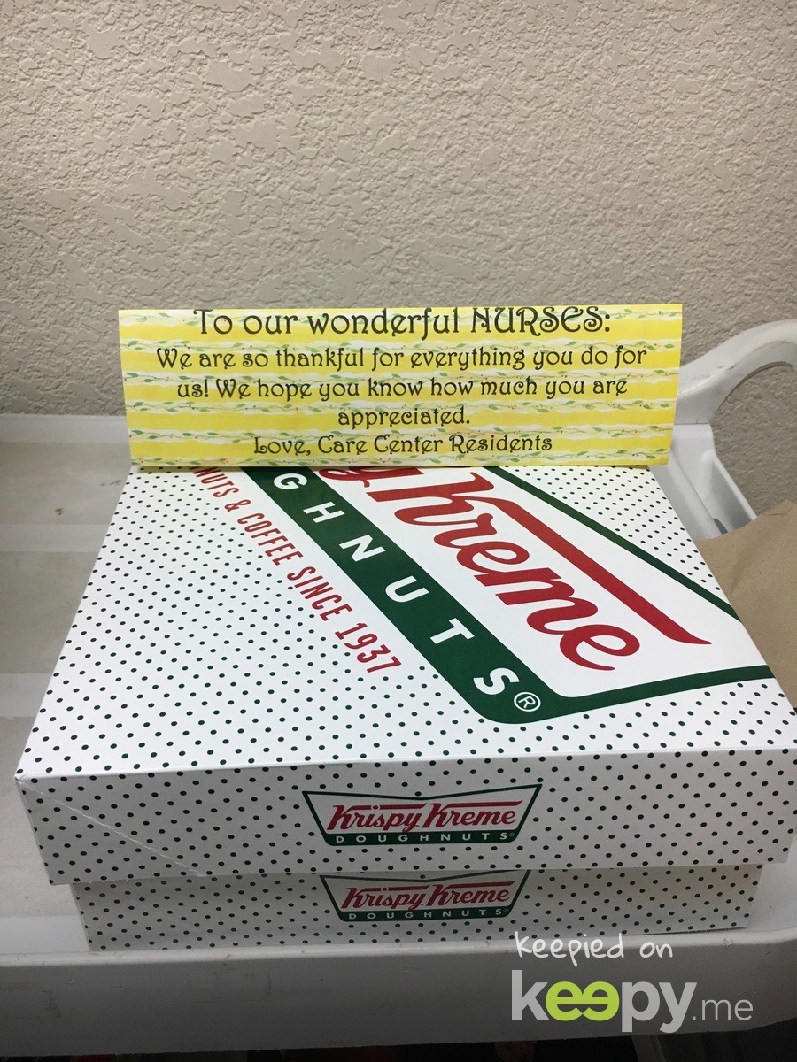 We are so lucky to have such wonderful nurses who take great care of our residents! In appreciation, the residents in the care center gave doughnuts! What a sweet way to say thank you.
