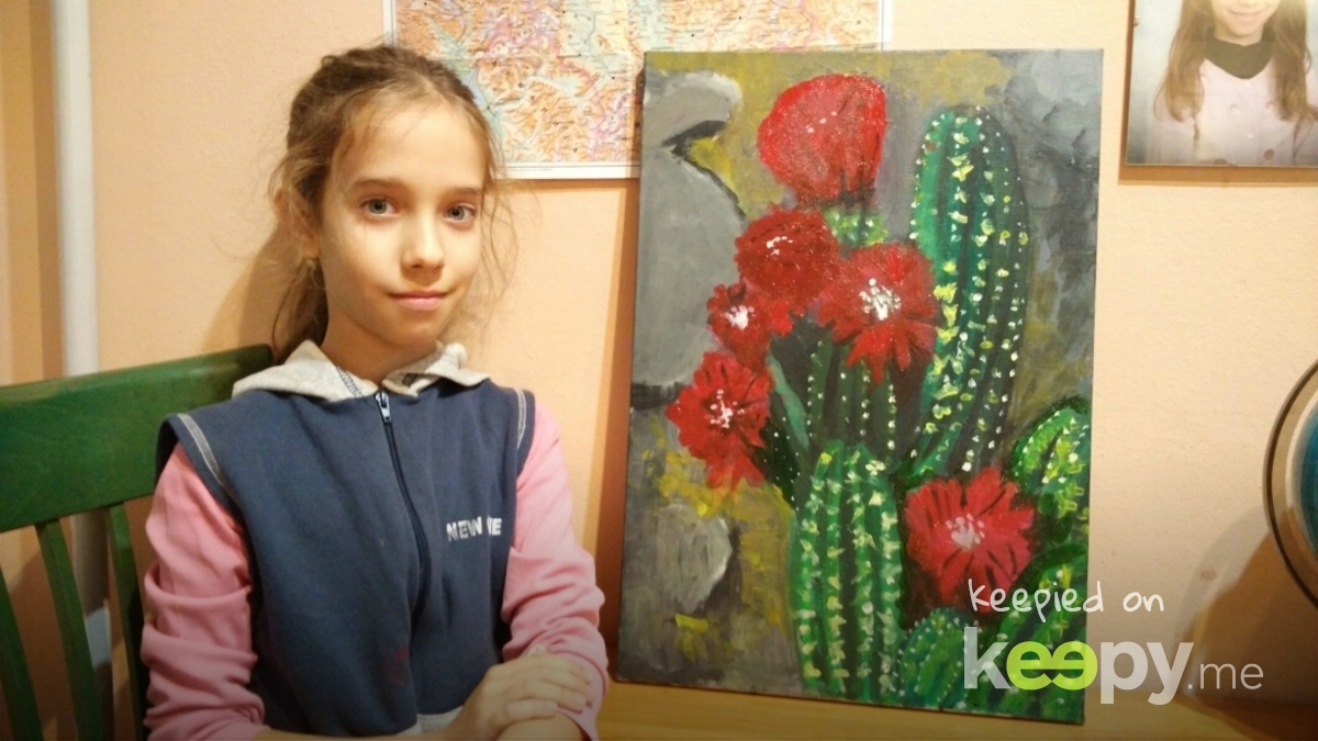 Prva slika na platnu. Procvetali kaktus.