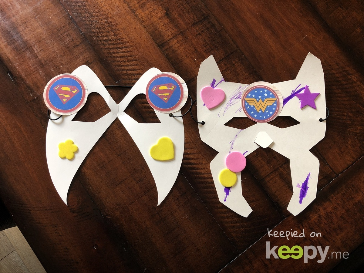 """Daddy and Kenzie made superhero masks at school today for """"superhero"""" day"""