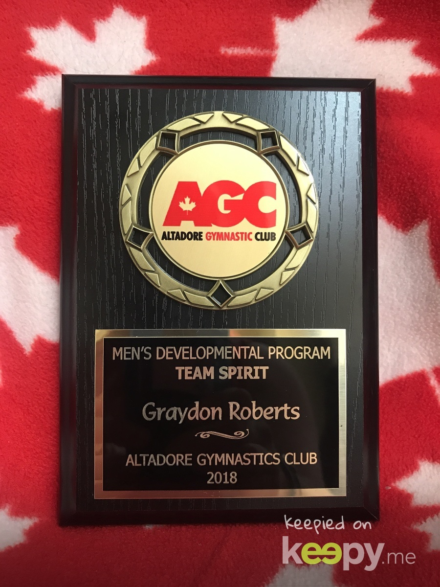 Graydon completed his 2nd season with Altadore Men's Team Dev 2 with a Team Spirit award.  He wasn't able to complete his last two months of training because he broke his left arm on April 30th, 2018.  Over the past 4 weeks he has returned to the gym to maintain his team spirit.  Thank You Coach Ryan for all that you do!