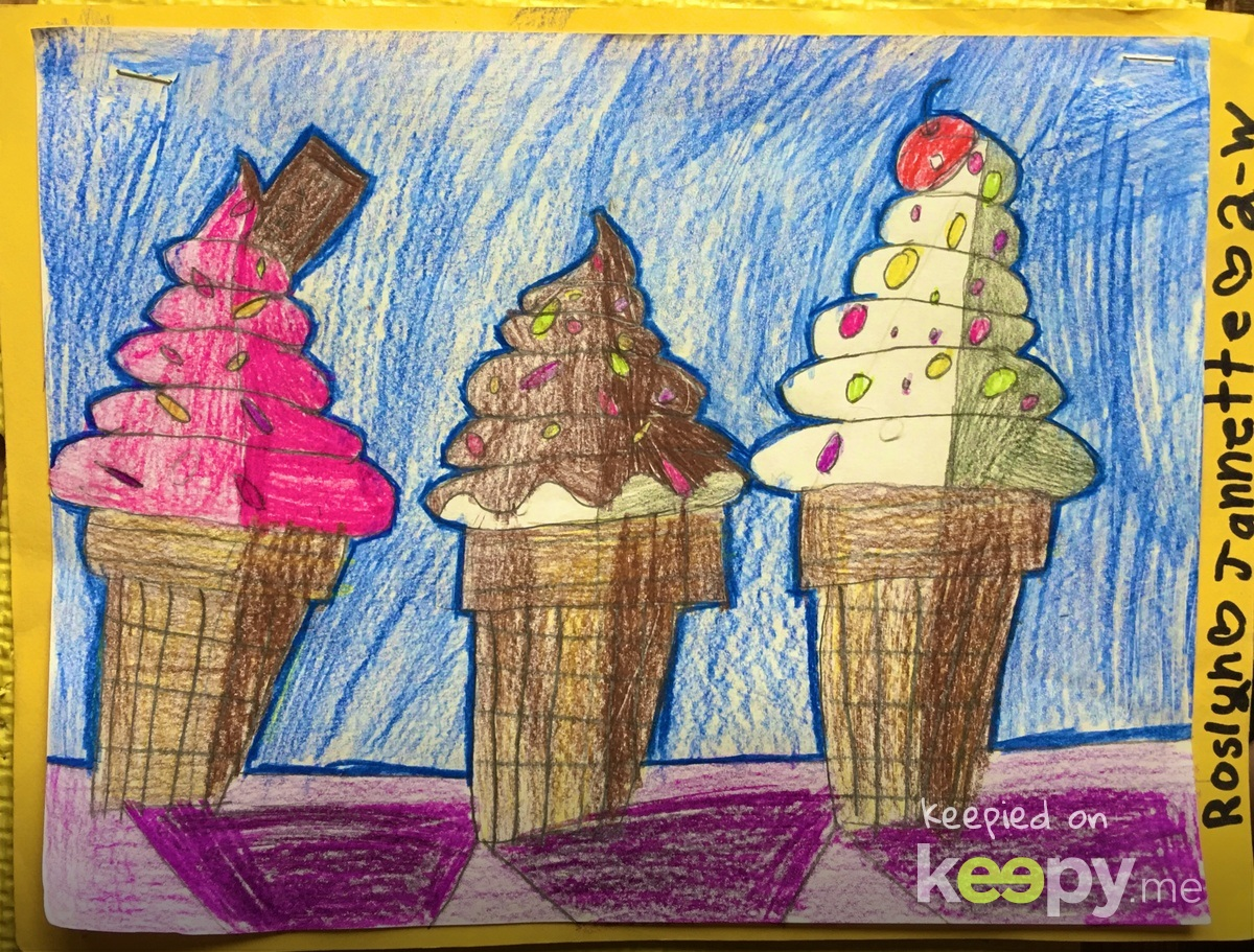 #YoungRembrandts Ice cream cones theme. Colored pencil. #RoslynJ
