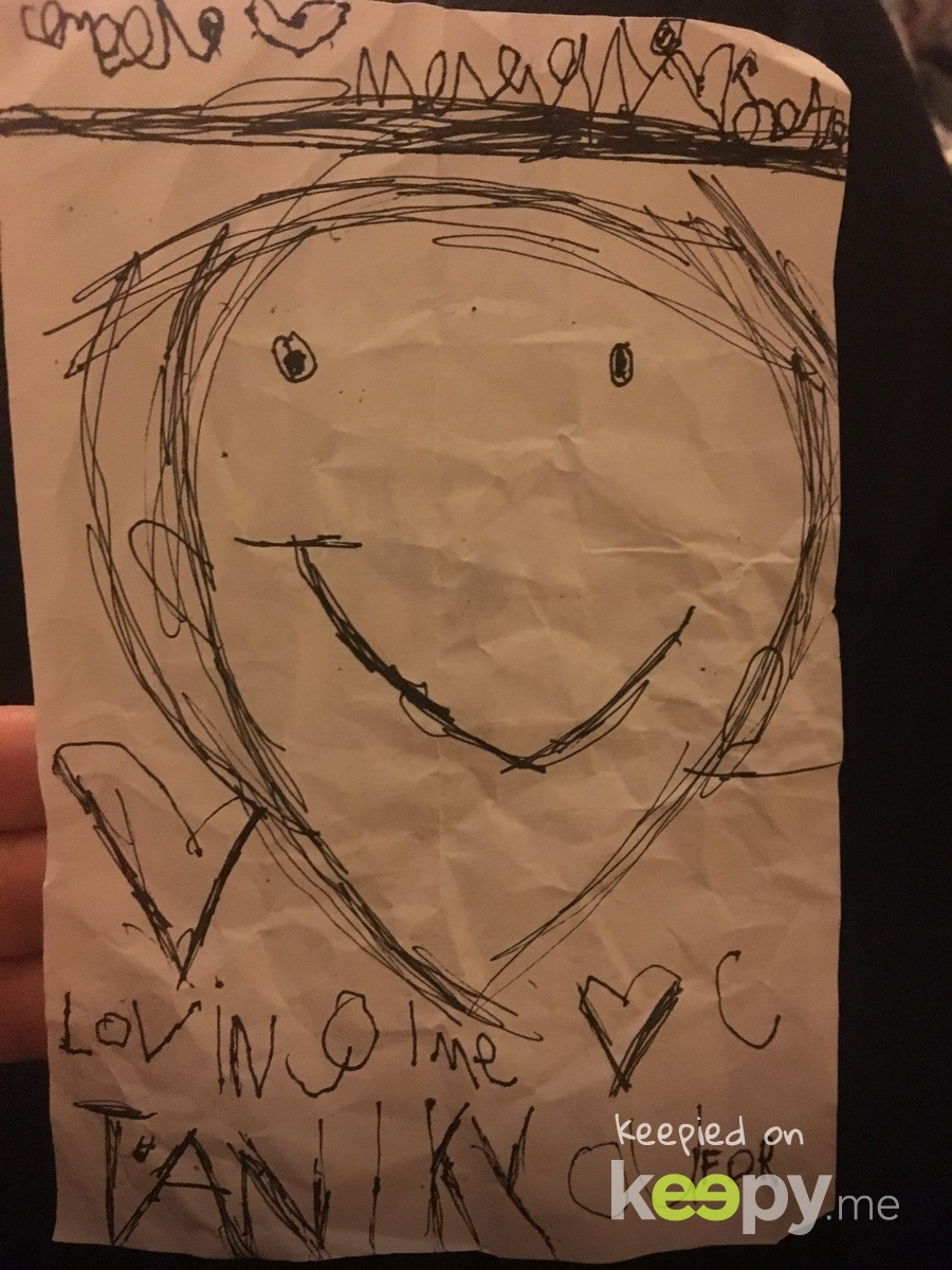 He wrote me this note on his first day of kindergarten. He was so happy to wake to streamers and balloons.