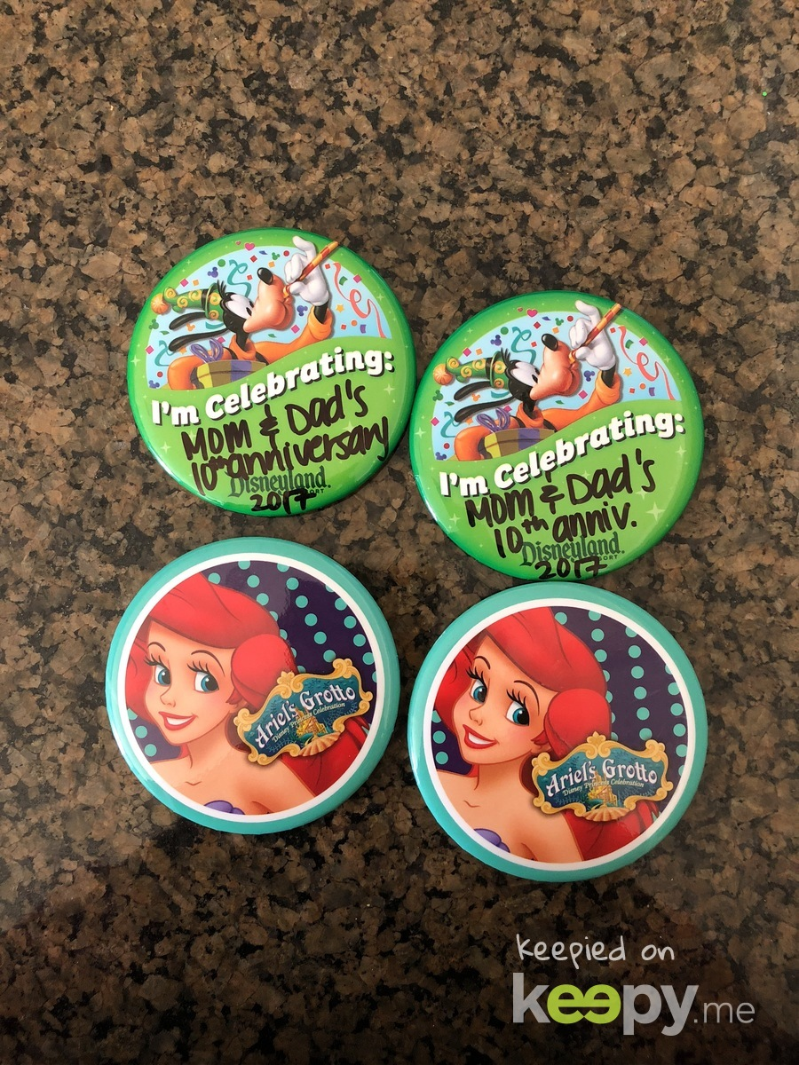 Buttons we got when we visited Disneyland for Mommy and Daddy's 10th Anniversary