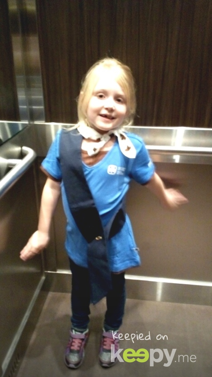 Proud Brownie Marianna, on her way to her second meeting ever and first in a uniform. :)