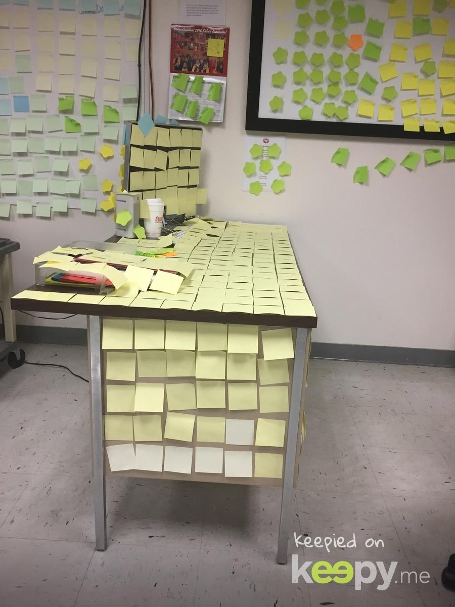 Senior prank. 1000 posted notes!