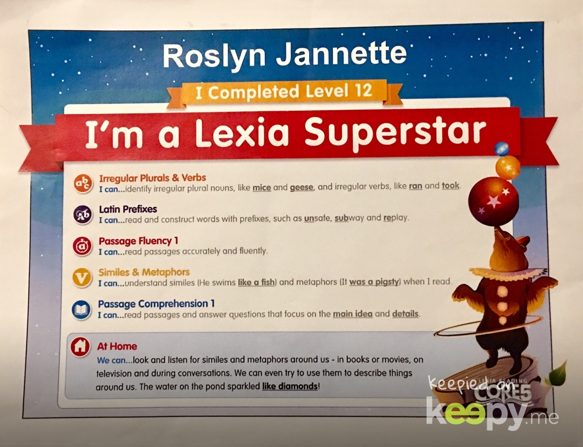 Another Lexia level completed » Keepy.me