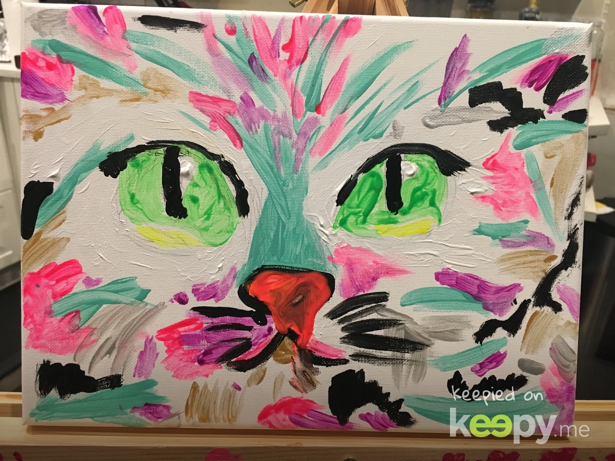 Her latest painting. I think it's pretty darned cool. This was at home, not 4cats.  » Keepy.me