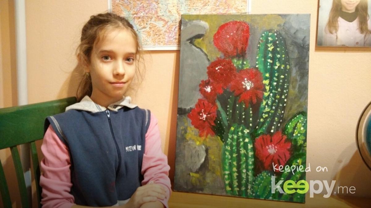 Prva slika na platnu. Procvetali kaktus. » Keepy.me