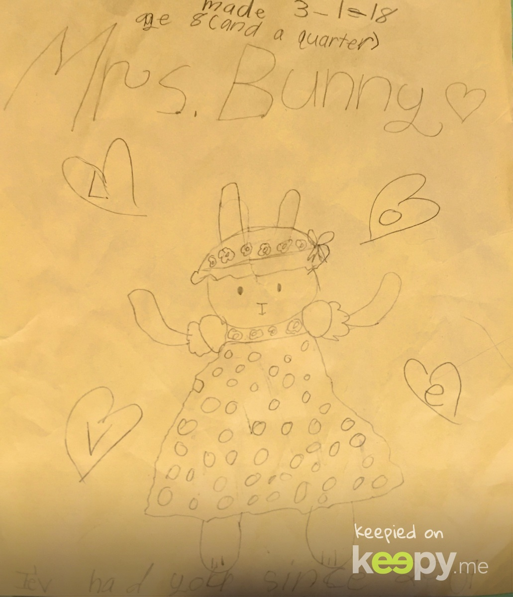 Mrs. Bunny. Every couple months #RoslynJ seems to rediscover & obsess over 1-2 stuffies, & carries then everywhere. Here is a drawing she did of Mrs. Bunny she's had before she was born (which came from her Great Aunt Joyce). » Keepy.me
