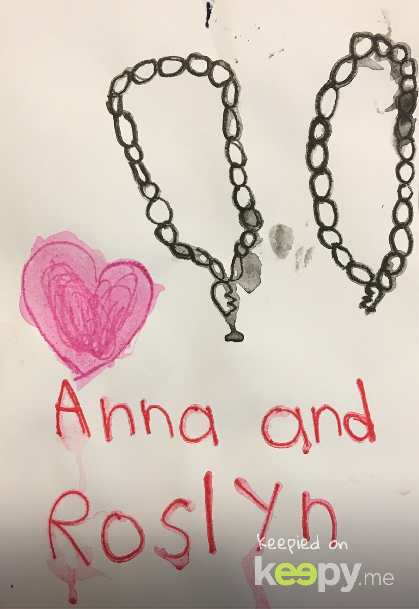 Anna and #RoslynJ. She made this when Anna slept over & they exchanged BFF necklaces.  » Keepy.me