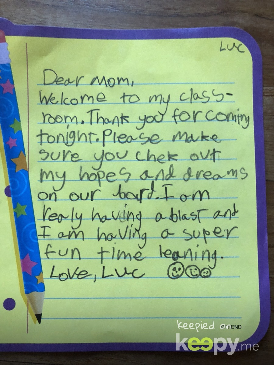 Luc's letter to mom for Back to School night. » Keepy.me