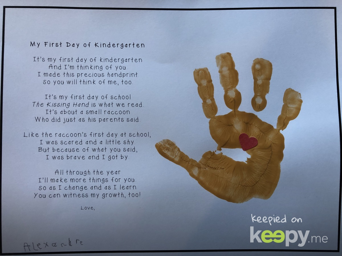 Hand print and note from Back to School night » Keepy.me