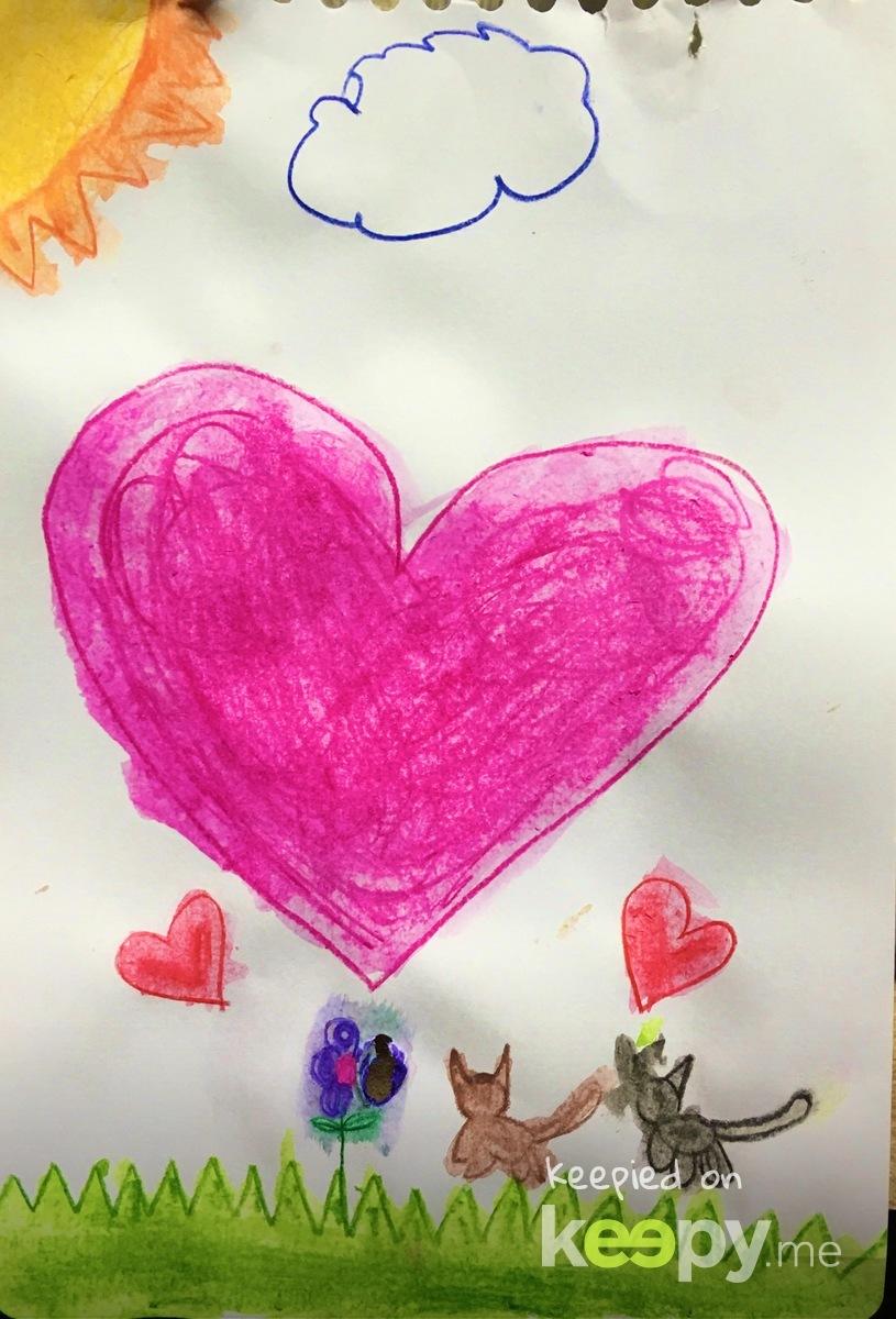 #Watercolor pencil by #RoslynJ. Hearts and kitties  » Keepy.me